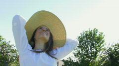 Portrait of female wearing hat Stock Footage