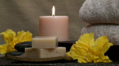 Spa Zen scene with hibiscus flowers V3 - HD - stock footage