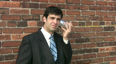 Man on tincan phone. 2 of 2. Stock Footage