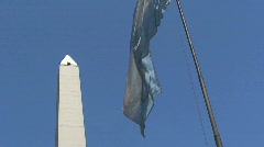 Flag/obelisk buenos aires, Argentina - stock footage
