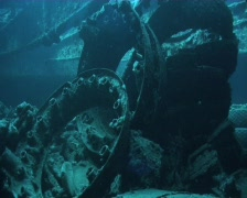 WW2 aircraft parts inside cargo hold of a shipwreck - SS Thistlegorm Stock Footage