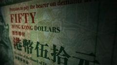 Hong Kong old fifty dollar bill panning Stock Footage