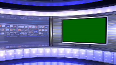 HD Virtual News Studio 28 / Shot 2 Stock Footage