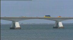 Bridge traffic zeelandbrug medium shot  502001 013818 Stock Footage