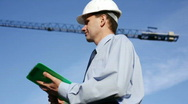 Engineer on a construction site Stock Footage