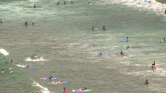 Mex surfers to wide pullout Sayulita 082 Stock Footage