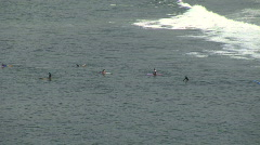 Mex surfers to wide view beach 084 Stock Footage