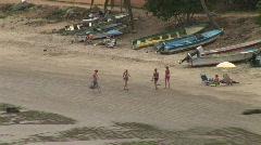 Mex people walking on beach 017 Stock Footage