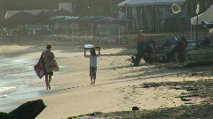 Mex people and beach at dawn 009 Stock Footage