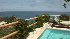Mex pool and view pan 086 Stock Footage