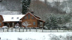 Christmas Cabin pan left (HD) c Stock Footage
