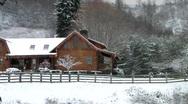 Christmas Cabin pan left (HD) c Stock Footage