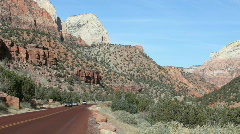 Zion National park road autos P HD 5463 Stock Footage