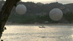 Mex dusk lanterns and boat 064 Stock Footage
