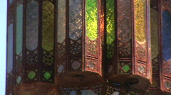 Mex cu rusted stained glass lantern 068 Stock Footage