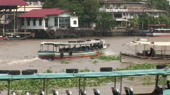 Bangkok river traffic and passengers Stock Footage