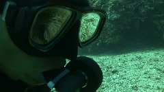 Reflection of clownfish in anemone in the dive mask of a diver Stock Footage