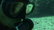 Stock Video Footage of Reflection of clownfish in anemone in the dive mask of a diver