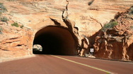Zion NP red tunnel auto towards P HD 5503 Stock Footage