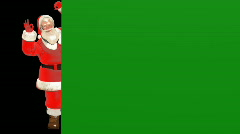 Santa claus peeking animation with green screen Stock Footage