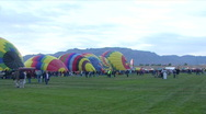 Hot Air Balloons On The Ground Stock Footage