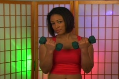 Lovely Young Woman with Hand Weights (1) Stock Footage