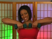 Lovely Young Woman with Hand Weights (5) Stock Footage