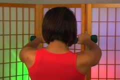 Lovely Young Woman with Hand Weights (7) Stock Footage