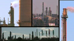 Oil Refinery Montage Stock Footage