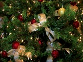 Christmas tree decorated with blinking lights red balls and golden ribbons Stock Footage