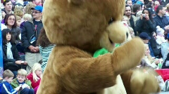 bear costume dance clapping - stock footage