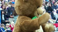 Bear costume dance clapping Stock Footage