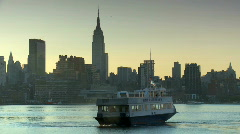 Ferry crossing the Hudson River into New York City Stock Footage