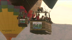 Hot Air Balloon Mass Ascension Twin Tour Balloons Fly Together Stock Footage
