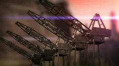 Stock Video Footage of Cranes Contruction sunset CG