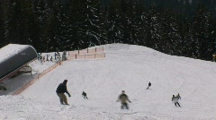 Snowboarding and skiing Stock Footage