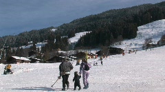 Family going to ski Stock Footage