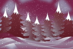 Christmas background with snow n trees n flakes Stock Footage