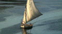 Felluca Sailing Boat, Nile, Egypt Stock Footage