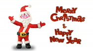 "Stock Video Footage of Santa Claus dance on white with words ""Happy new year and Marry Christmas"""