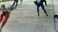Stock Video Footage of fitness, long track speed skating, #19 practice