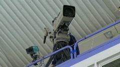 Broadcast TV cameraman at sports event, #1 Stock Footage