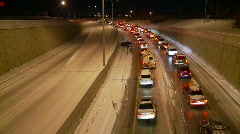 Weather, snowstorm, total gridlock in one direction, empty other lanes! Stock Footage