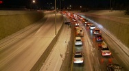 Stock Video Footage of weather, snowstorm, total gridlock in one direction, empty other lanes!