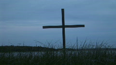Cross in grass  Stock Footage