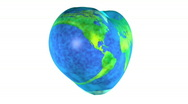 Spinning and looping heart shaped Earth globe Stock Footage