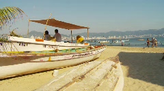 Fishing skiff on beach Stock Footage