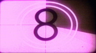 Stock Video Footage of faded magenta film academy countdown leader released HD