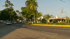 Acapulco traffic, pan follow traffic - stock footage