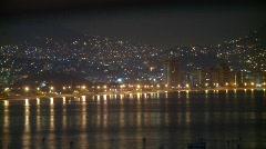 Acapulco skyline at night, timelapse Stock Footage